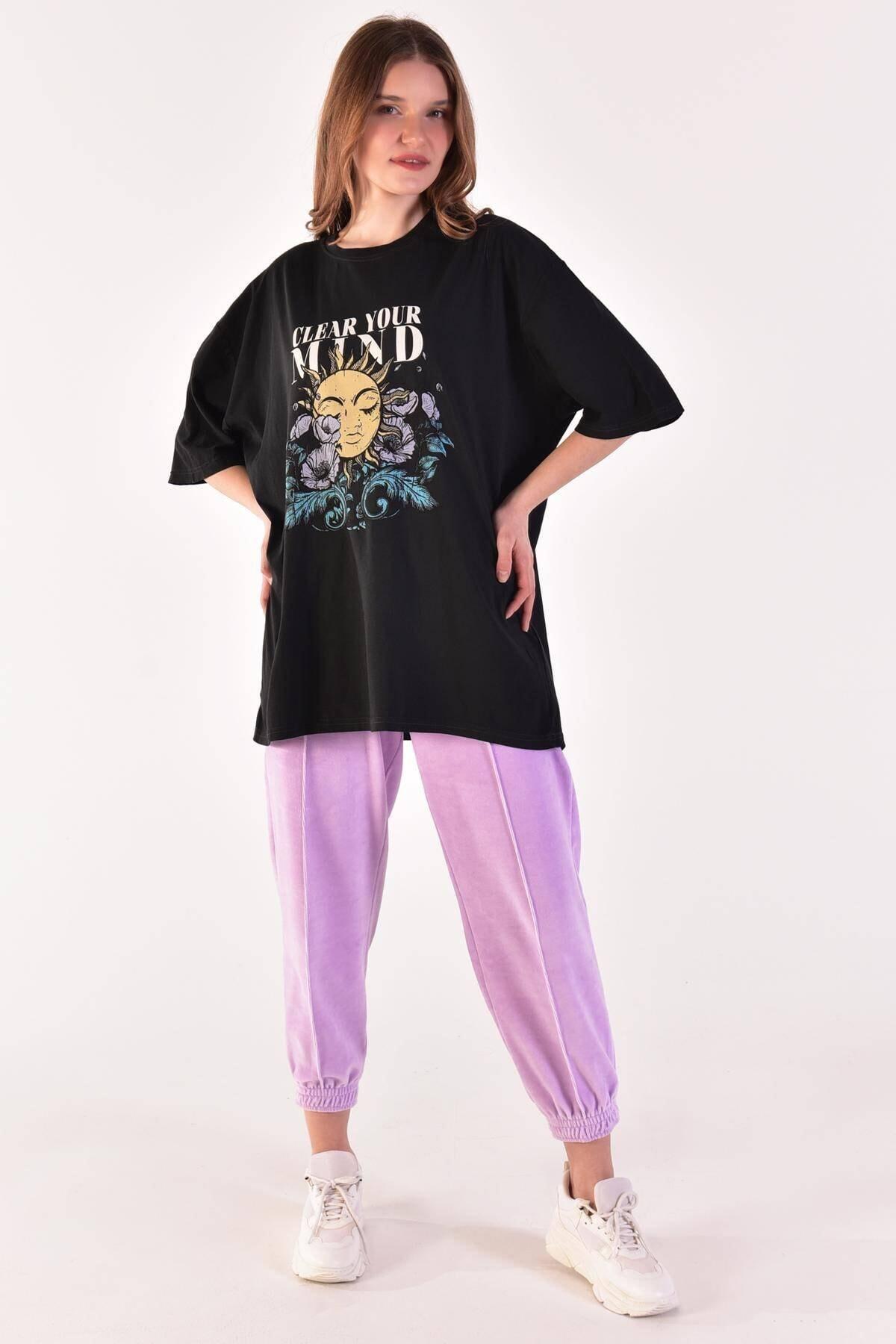 Addax Kadın Füme Baskılı Oversize Tişört P9372 - H5 ADX-0000021439 0