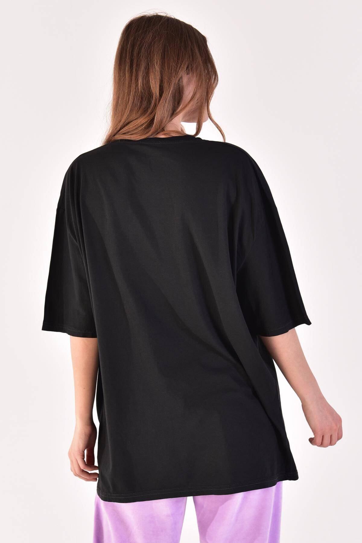 Addax Kadın Füme Baskılı Oversize Tişört P9372 - H5 ADX-0000021439 4