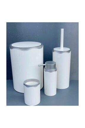 Azra Akrilik Banyo Takımı 4 Parça Banyo Seti Beyaz-gri 0