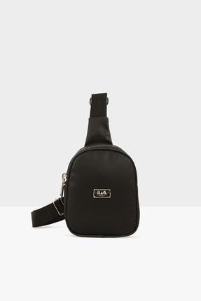 Bagmori Siyah Kadın Kalın Çift Fermuarlı Saten Mini Çapraz Çanta M000004419 0