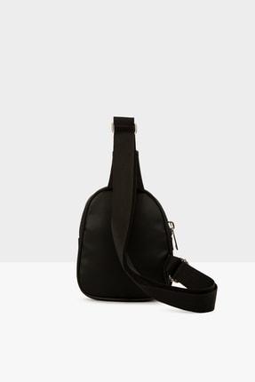 Bagmori Siyah Kadın Kalın Çift Fermuarlı Saten Mini Çapraz Çanta M000004419 3