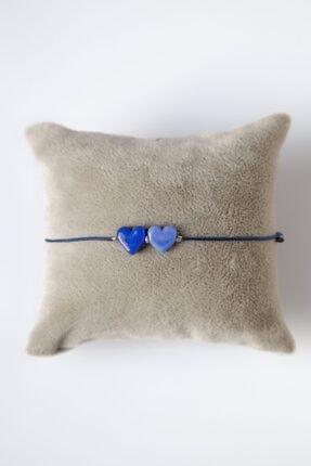 Mina Cam Tasarım Ikili Kalp Ayarlı Bileklik 0