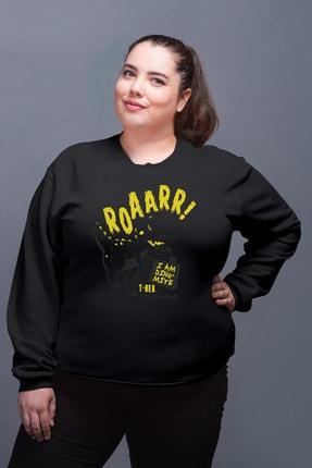 Angemiel Wear Trex Dinozor Siyah Kadın Sweatshirt 0