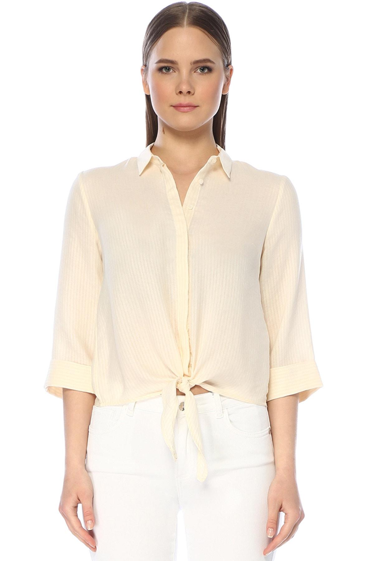 Kadın Çizgili Ekru Gömlek 1075237