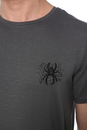 Network Erkek Slim Fit Antrasit Tshirt 1074823 3