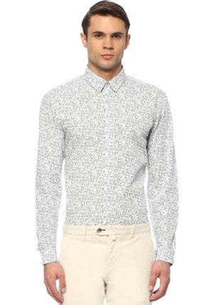 Network Erkek Slim Fit Mavi Beyaz Gömlek 1074238 0