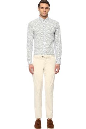 Network Erkek Slim Fit Mavi Beyaz Gömlek 1074238 1