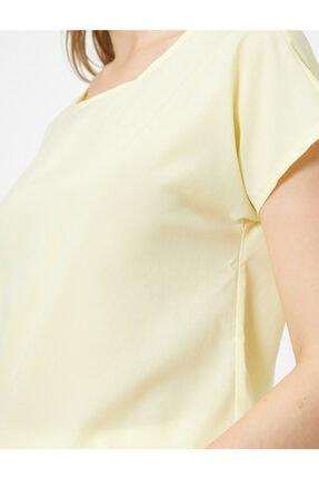 Koton Kadın Açık Sarı Bisiklet Yaka Bluz 4