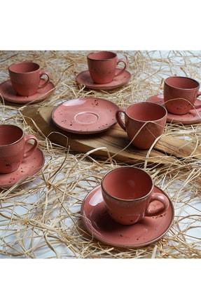 Tulü Porselen Luna Pembe 6 Kişilik Kahve Fincan Takımı 0