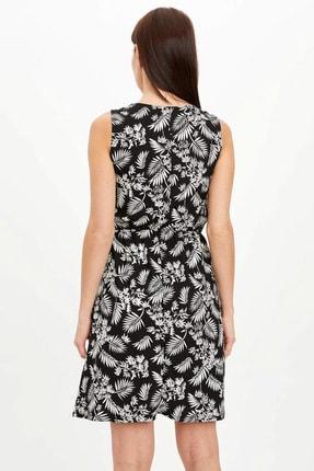 Defacto Kadın Siyah Çiçek Desenli Belden Bağlama Detaylı Örme Elbise M9053AZ.20SM.BK27 3