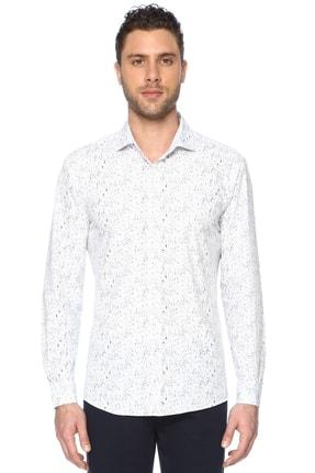 Network Erkek Beyaz Lacivert Baskılı Gömlek 1066313 0