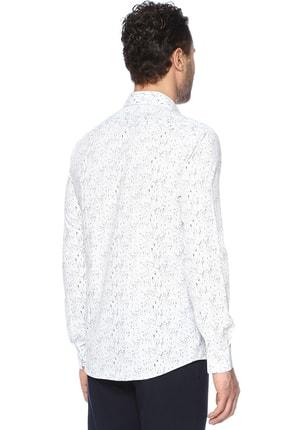Network Erkek Beyaz Lacivert Baskılı Gömlek 1066313 2