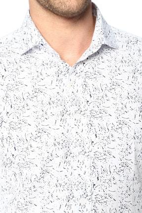 Network Erkek Beyaz Lacivert Baskılı Gömlek 1066313 3