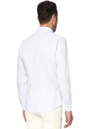 Network Erkek Çizgili Beyaz Mavi Gömlek 1066275 2