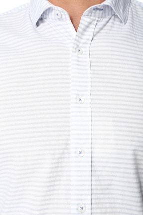 Network Erkek Çizgili Beyaz Mavi Gömlek 1066275 3