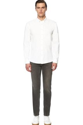 Network Erkek Jakarlı Slim Fit Beyaz Gömlek 1070400 1