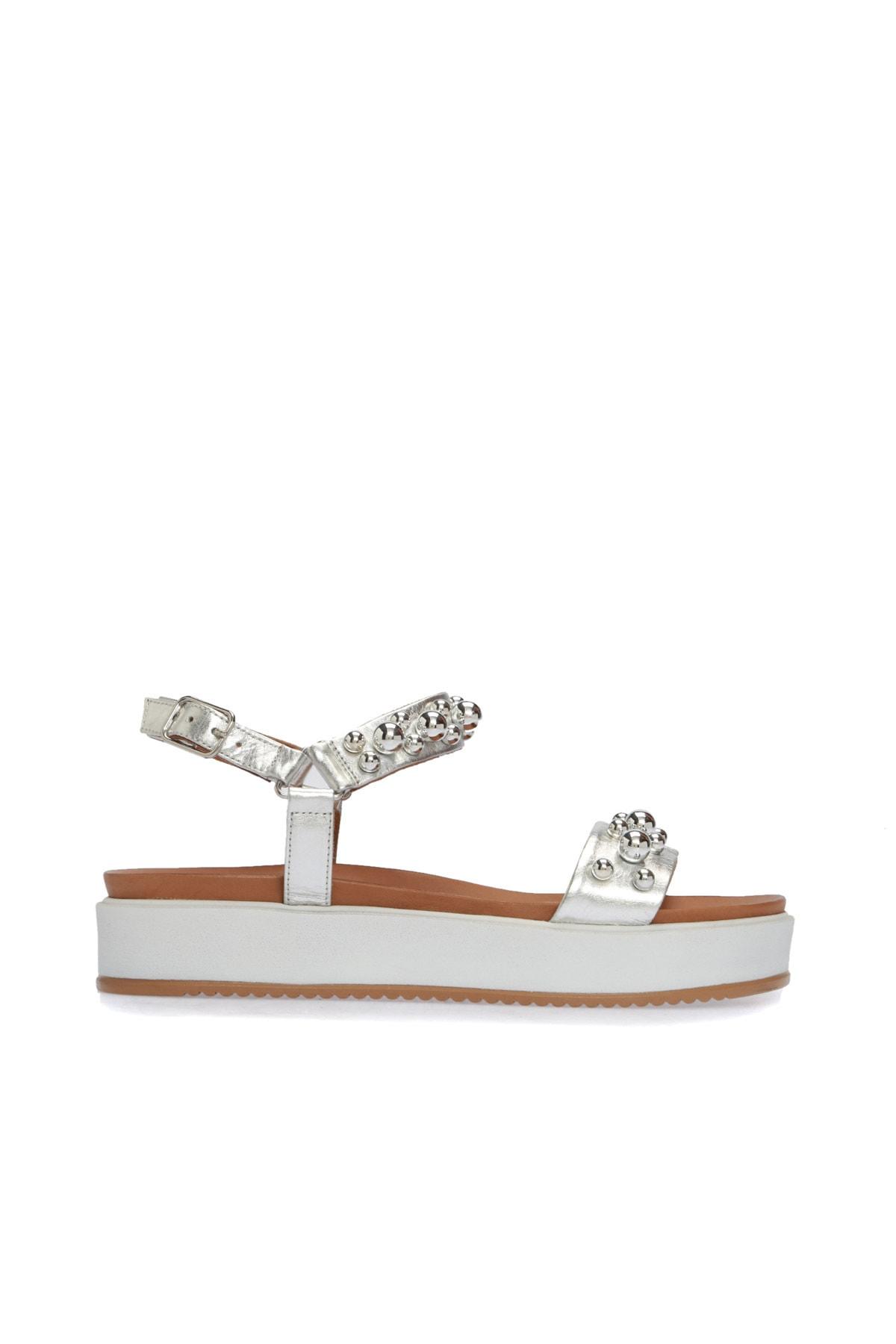 Hakiki Deri Taşlı Gümüş Sandalet