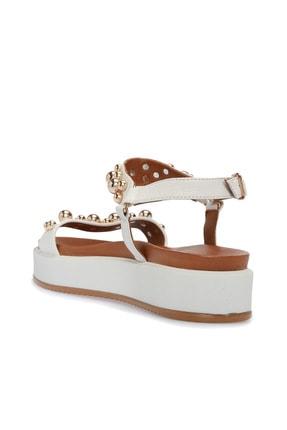 Divarese Hakiki Deri Taşlı Beyaz Sandalet 1