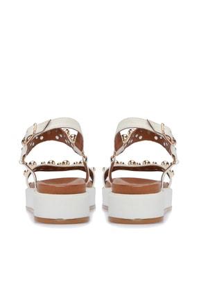 Divarese Hakiki Deri Taşlı Beyaz Sandalet 3
