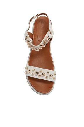 Divarese Hakiki Deri Taşlı Beyaz Sandalet 4