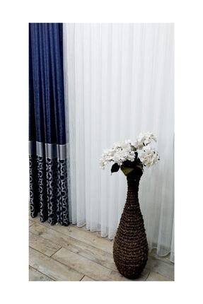 Evdepo Home Hazır Ekstraforlu Mavi Çizgili Pilesiz Tül 120 X 250 0