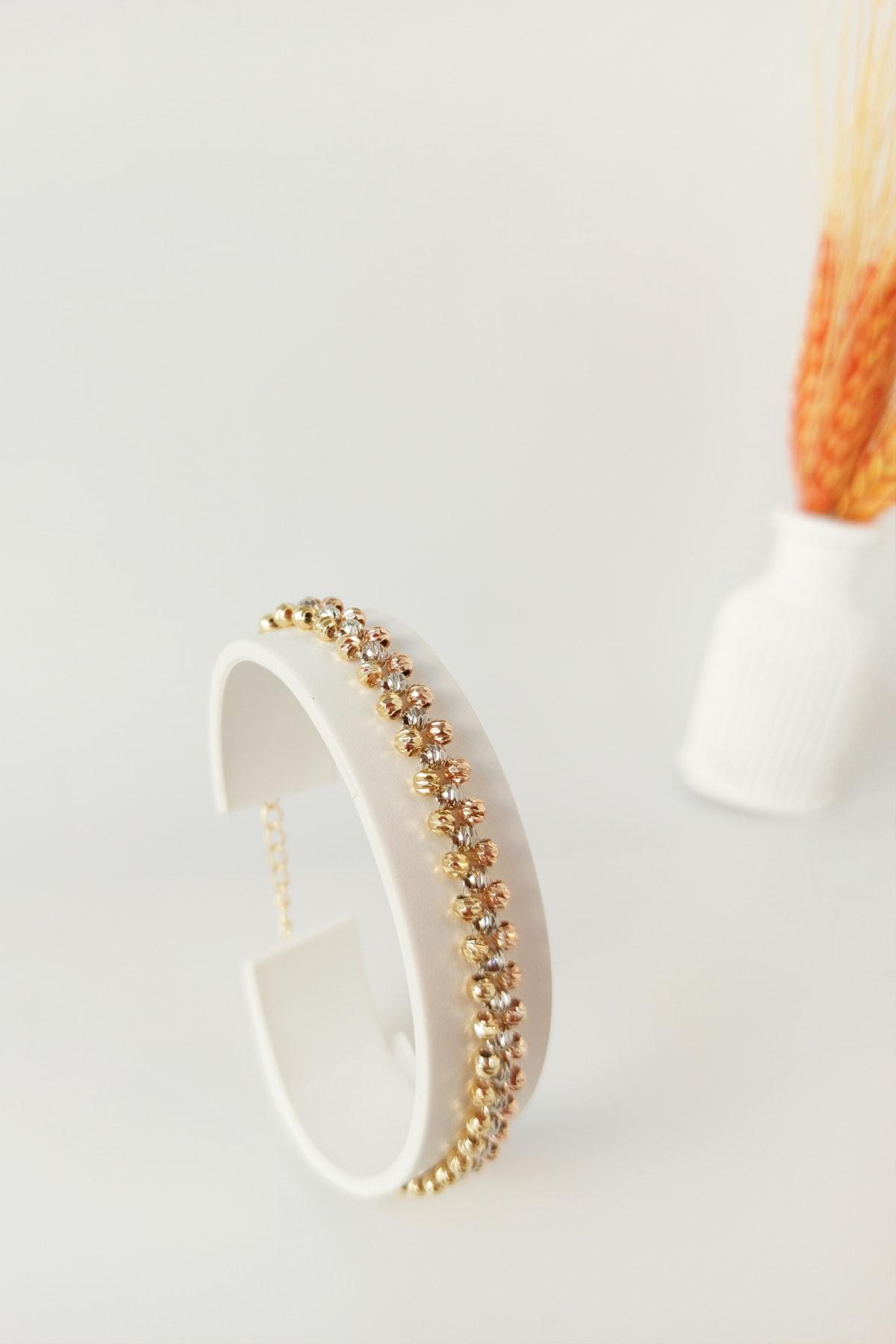 Karışık Dorika Taş Bileklik Gold B300