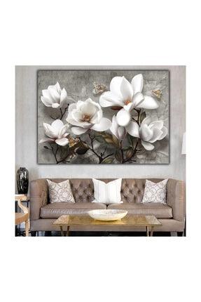 Simli Kanvas Beyaz Çiçekler Kabartma Ve Sim Işlemeli Kanvas Tablo. 0