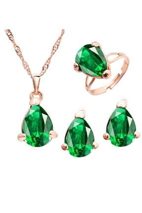 TRENDY Altın Renk Kristal Zümrüt Yeşili Kolye Küpe Yüzük Seti 0