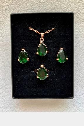 TRENDY Altın Renk Kristal Zümrüt Yeşili Kolye Küpe Yüzük Seti 1