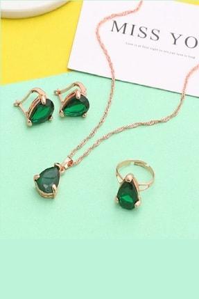 TRENDY Altın Renk Kristal Zümrüt Yeşili Kolye Küpe Yüzük Seti 2