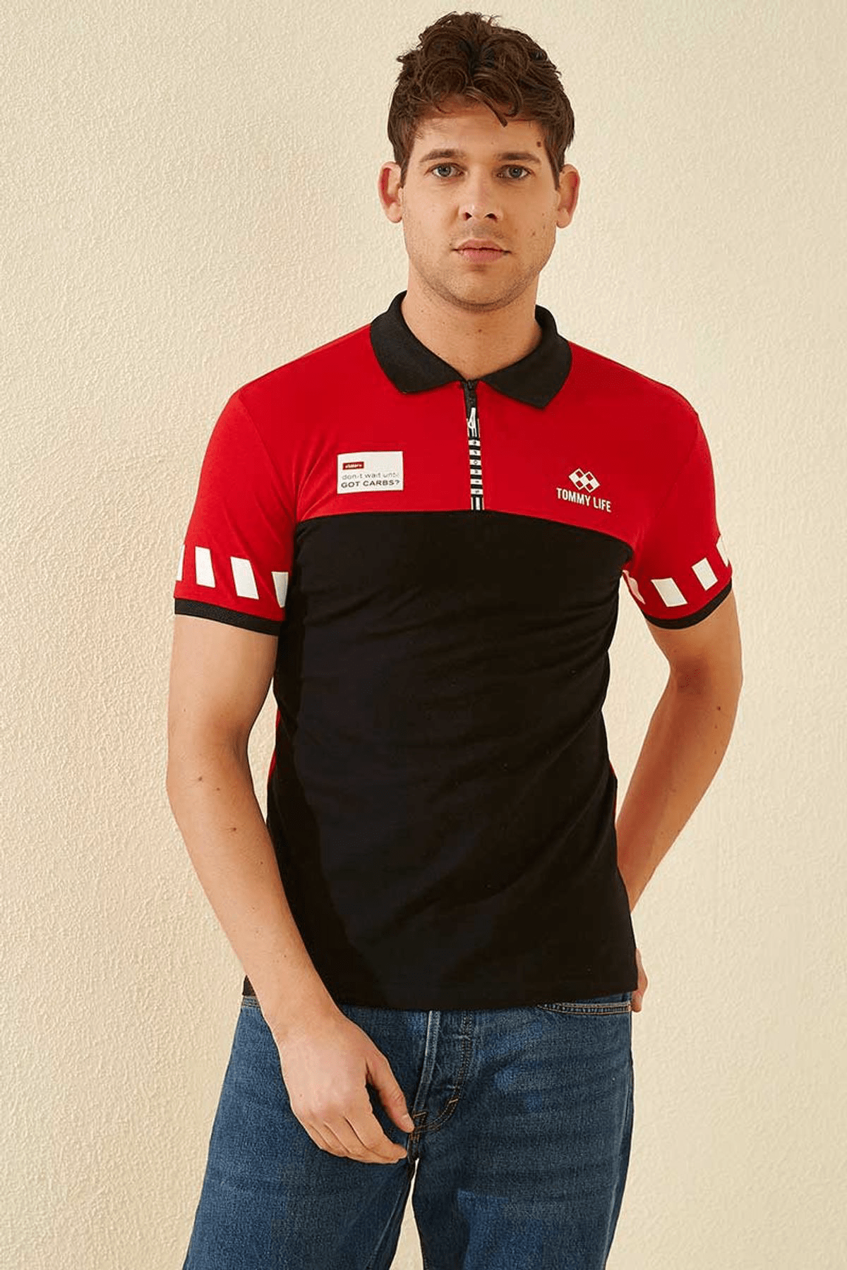 Tommy Life Kol Detaylı Polo Yaka Kırmızı Erkek T-Shirt T08ER-87800_1 1