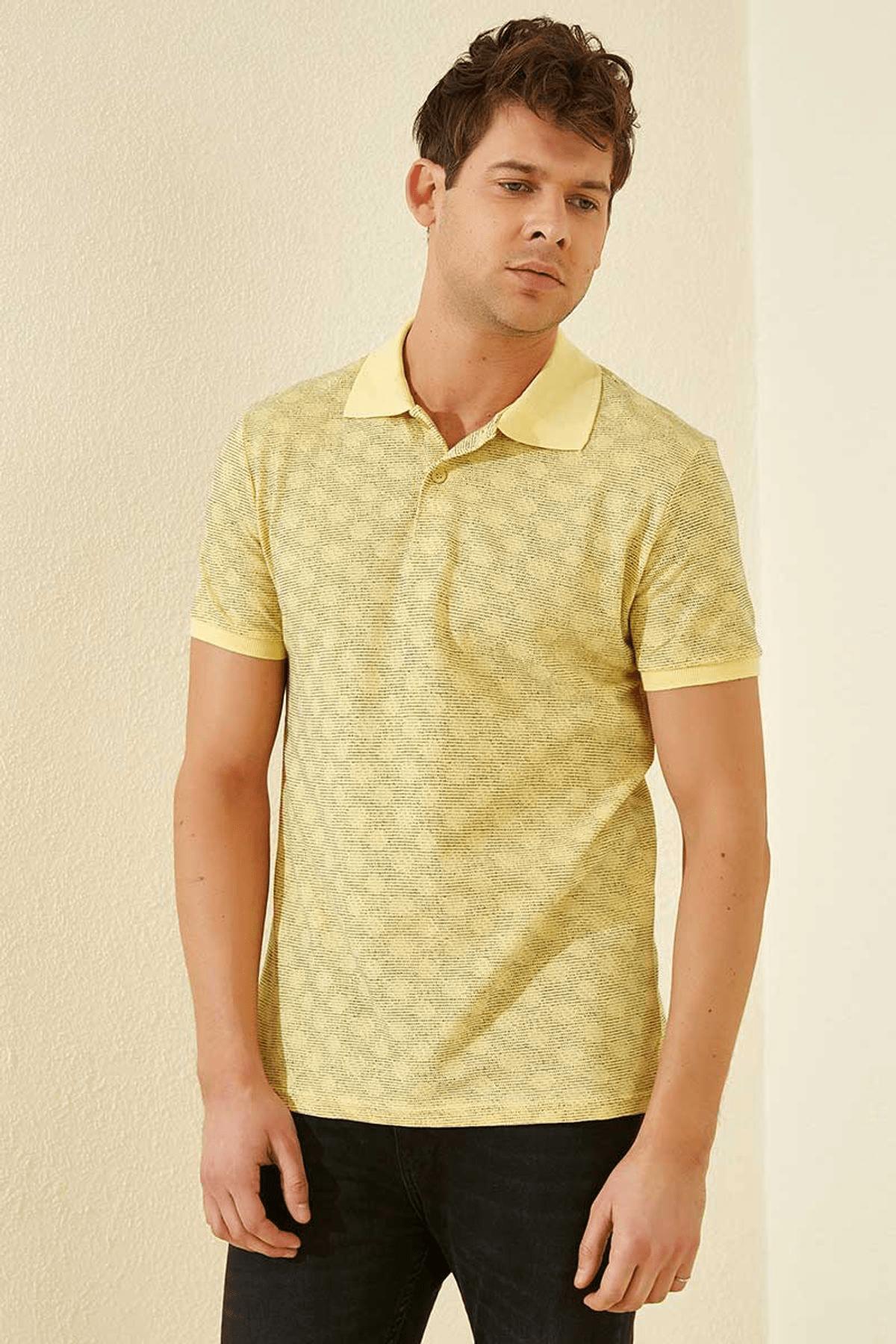 Tommy Life Baskılı Polo Yaka Sarı Erkek T-Shirt T08ER-87796_1 2