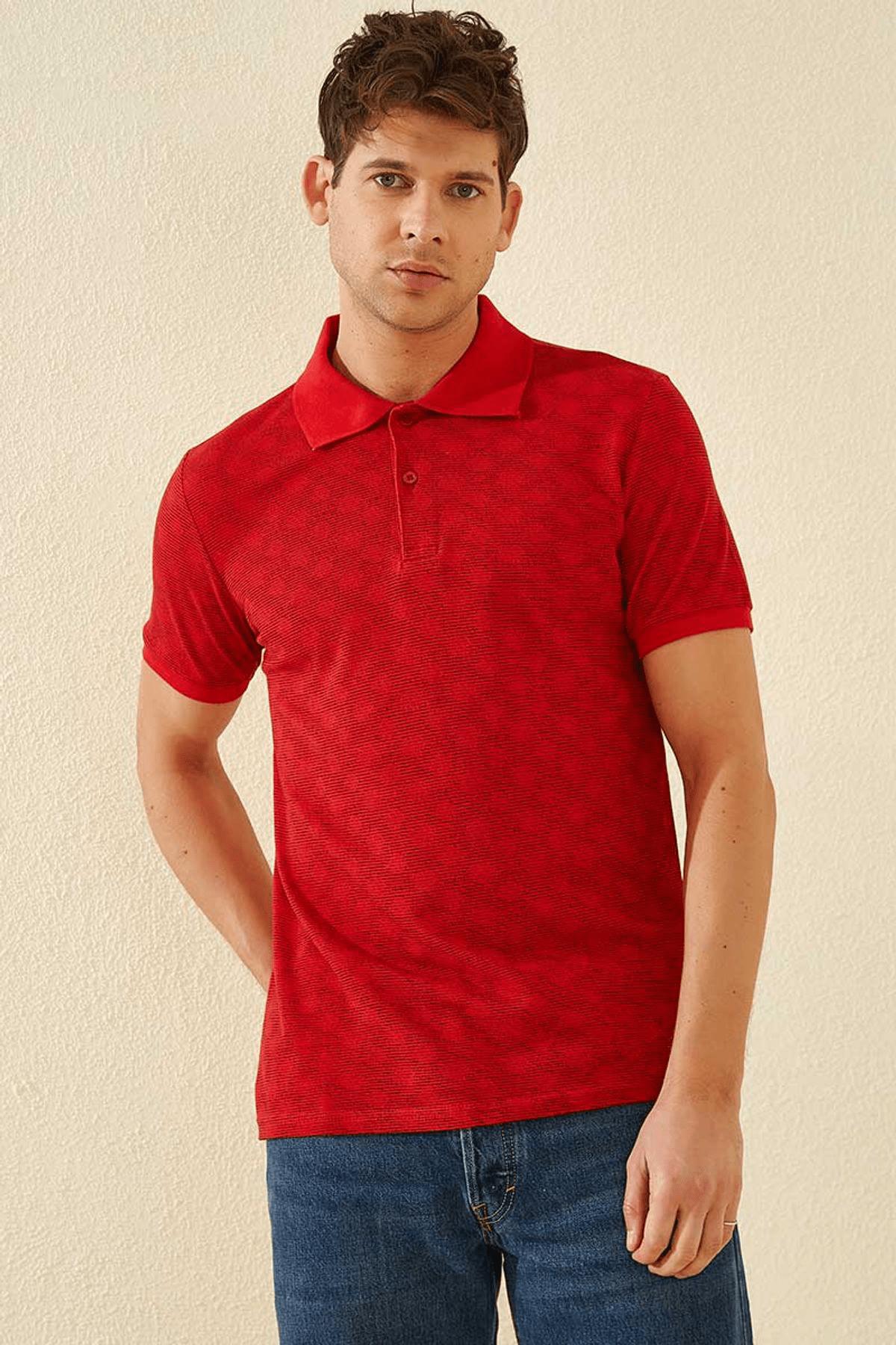 Tommy Life Baskılı Polo Yaka Kırmızı Erkek T-Shirt T08ER-87796_1 1