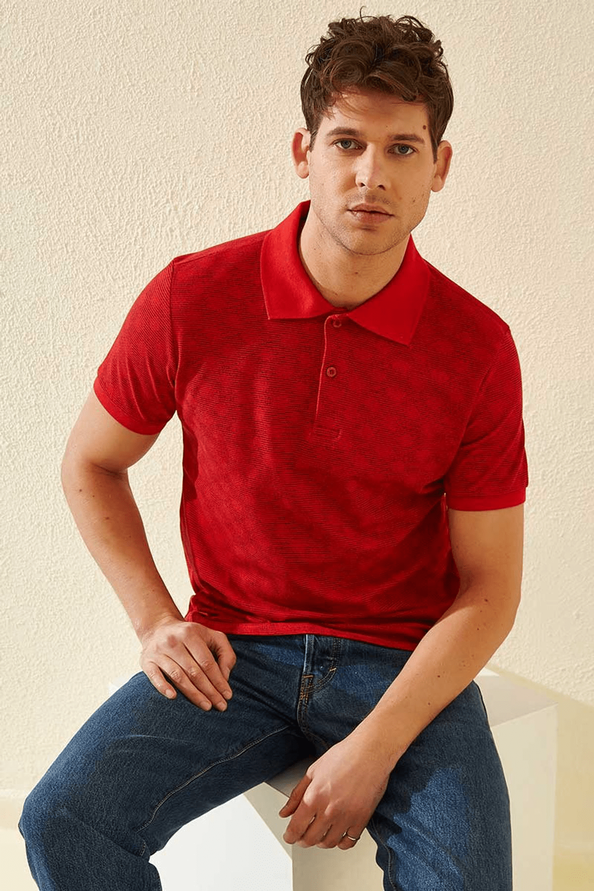 Tommy Life Baskılı Polo Yaka Kırmızı Erkek T-Shirt T08ER-87796_1 3