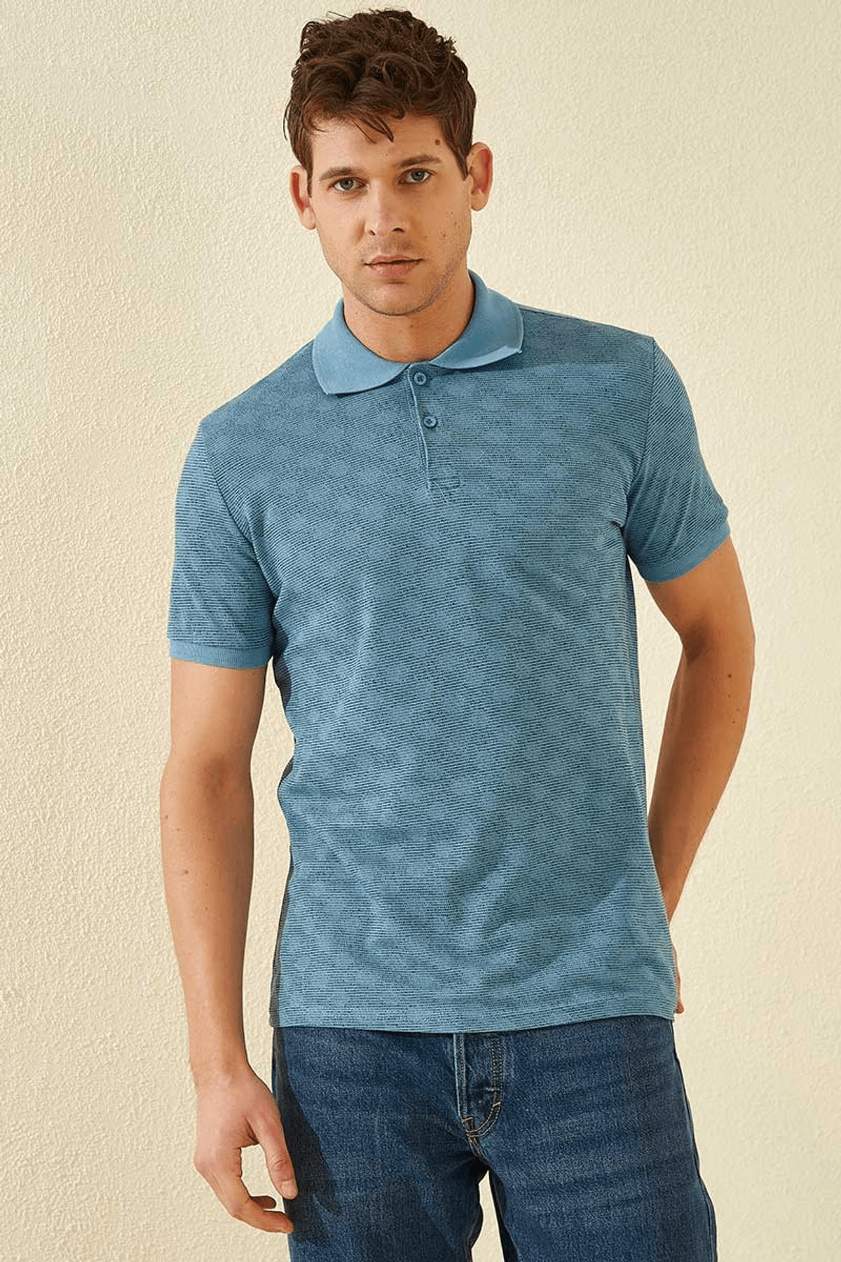 Tommy Life Baskılı Polo Yaka Kirli Mavi Erkek T-Shirt T08ER-87796_1 1
