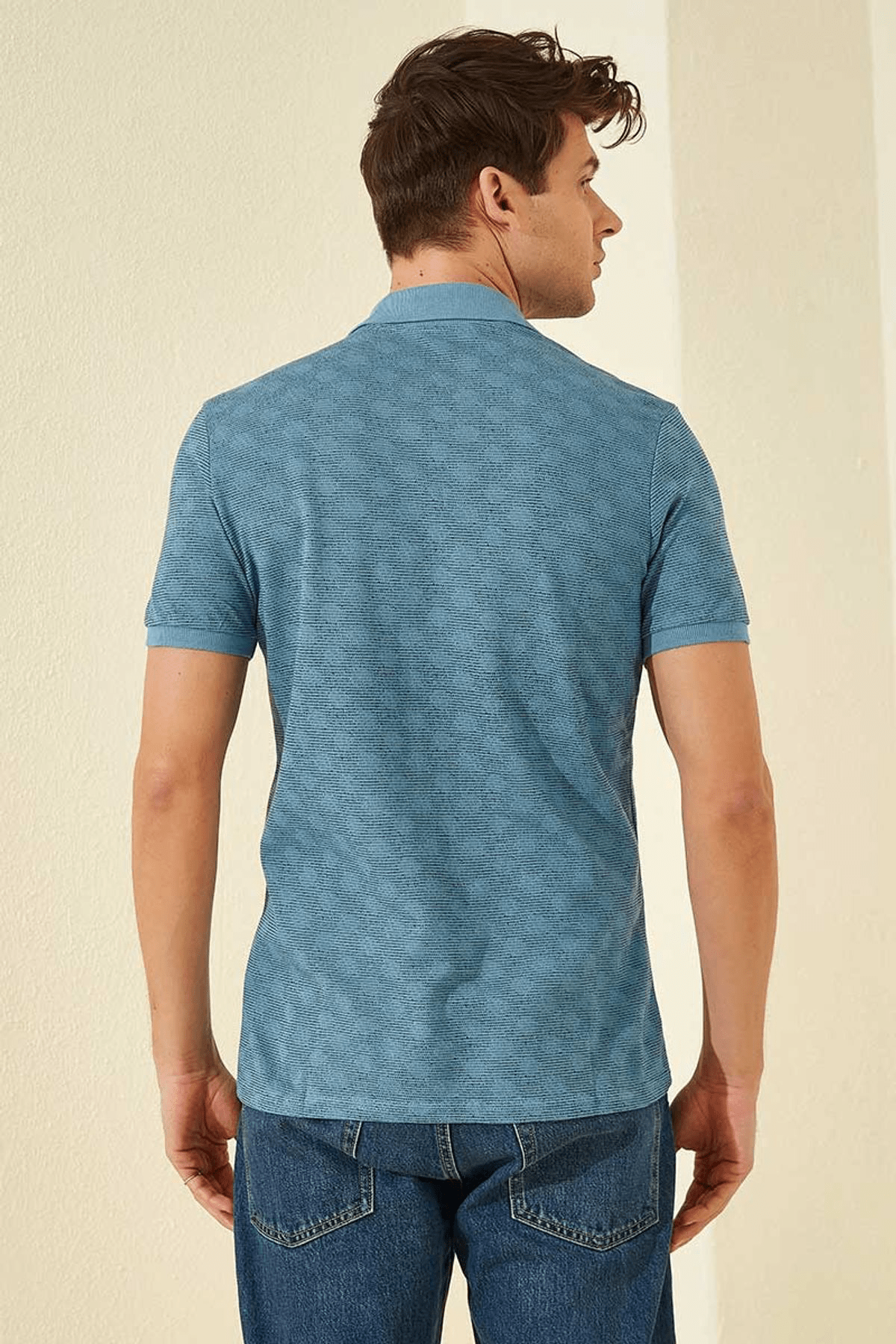 Tommy Life Baskılı Polo Yaka Kirli Mavi Erkek T-Shirt T08ER-87796_1 4