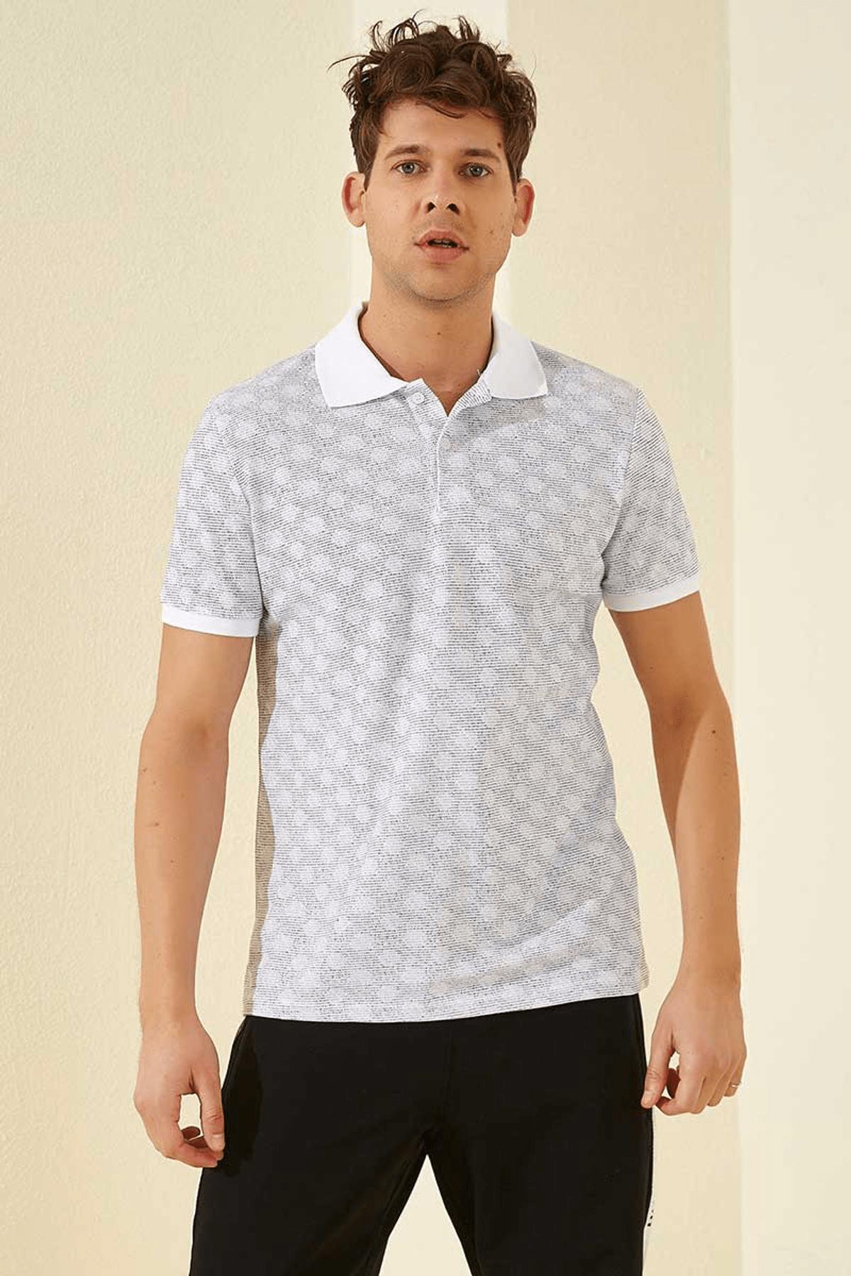 Tommy Life Baskılı Polo Yaka Beyaz Erkek T-Shirt T08ER-87796_1 0