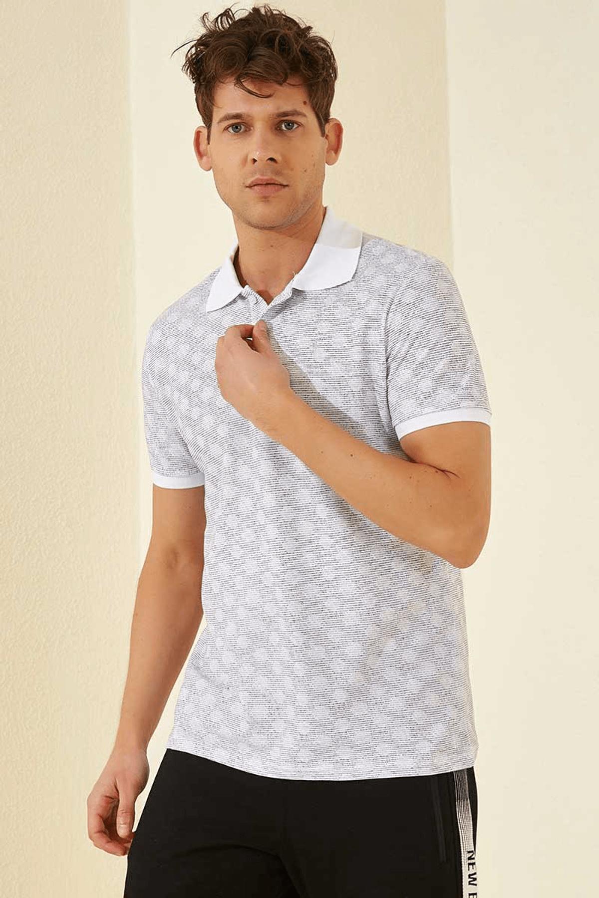 Tommy Life Baskılı Polo Yaka Beyaz Erkek T-Shirt T08ER-87796_1 1