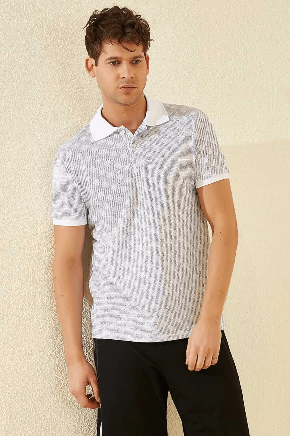 Tommy Life Baskılı Polo Yaka Beyaz Erkek T-Shirt T08ER-87796_1 3