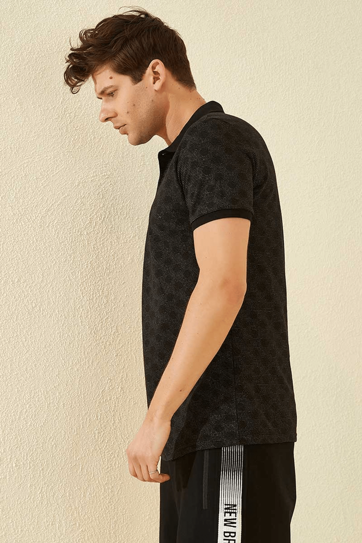 Tommy Life Baskılı Polo Yaka Siyah Erkek T-Shirt T08ER-87796_1 2