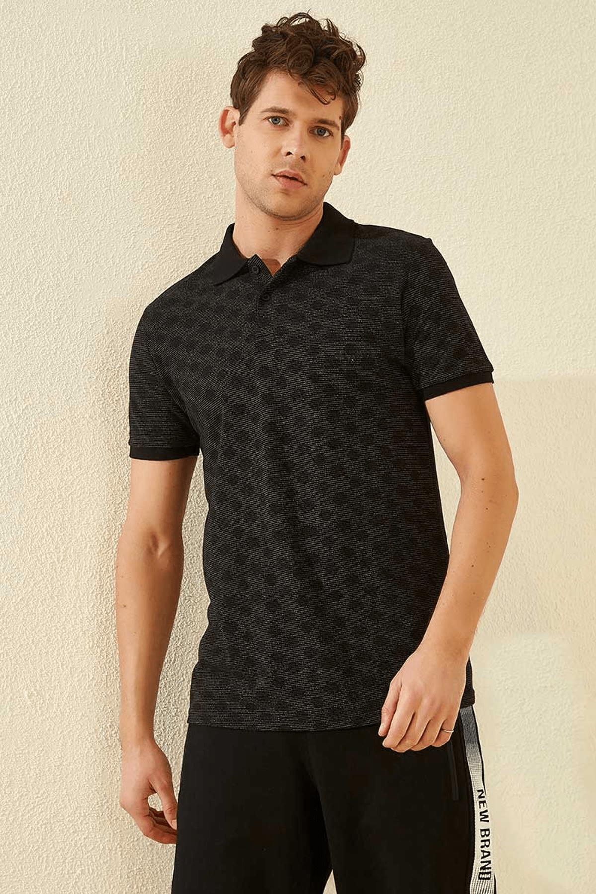 Tommy Life Baskılı Polo Yaka Siyah Erkek T-Shirt T08ER-87796_1 3