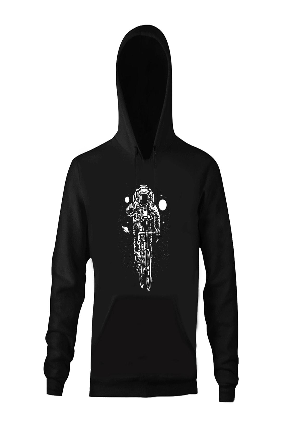 Cycling In Space Baskılı Tasarım Unisex Sweatshirt