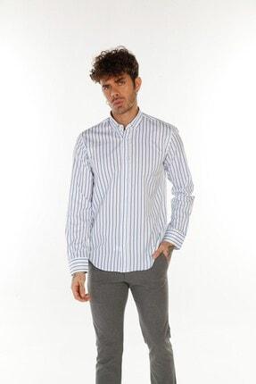 TREND&YOU Çizgili Beyaz Mavi Gömlek 0