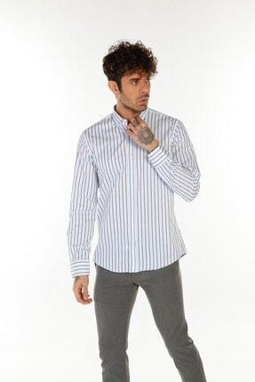 TREND&YOU Çizgili Beyaz Mavi Gömlek 2