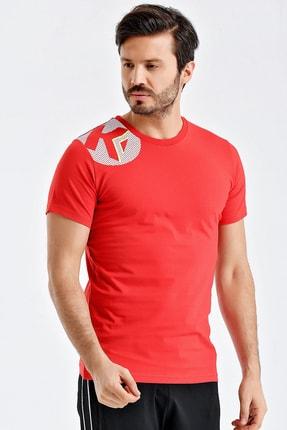 Kempa Erkek Kırmızı Pamuklu Bisiklet Yaka T-shirt 3