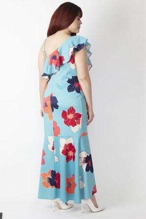 Şans Kadın Renkli Yaka Detaylı Abiye Elbise 65N16001 3