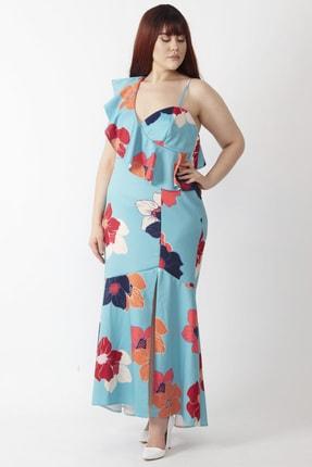 Şans Kadın Renkli Yaka Detaylı Abiye Elbise 65N16001 4