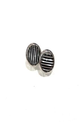 Siyah Beyaz Çizgi Desenli Kol Düğmesi 20003