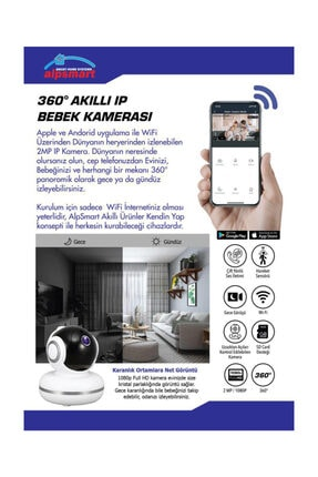 ALPSMART Akıllı Kablosuz Bebek Kamerası 360 2