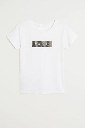 Mango Kadın Beyaz Pamuklu Logolu Tişört 67000604 4